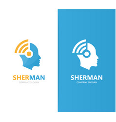 man and wifi logo combination face and vector image vector image