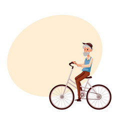 old man in vest and hat riding a bicycle cycling vector image vector image