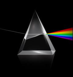 Rainbow light trough prism on dark background vector