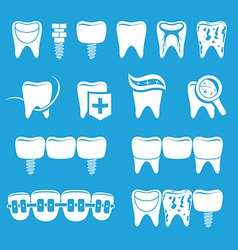 set of dentist icons vector image vector image