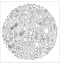 Set of Science cartoon doodle objects vector image vector image