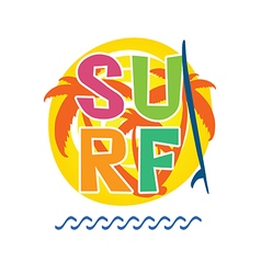 Surf icon with surfboard in colorful vector