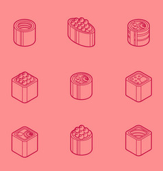 sushi flat outline isomeric icons vector image