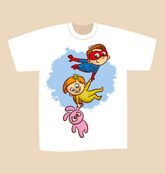 t-shirt print design superhero flying boy rescuer vector image