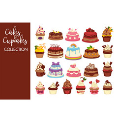 tasty cakes and cupcakes full of cream collection vector image vector image