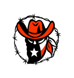 Texan outlaw texas flag barb wire icon vector