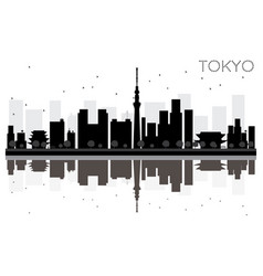 tokyo city skyline black and white silhouette vector image vector image