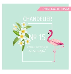 Tropical flowers and leaves flamingo bird vector
