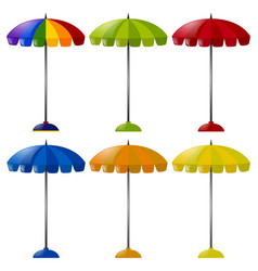 umbrella in six different colors vector image vector image