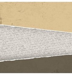 vintage torn background with handwritings vector image