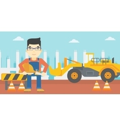 Engineer with hard hat and blueprint vector