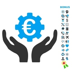Euro maintenance flat icon with bonus vector