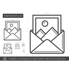 Attached photo line icon vector