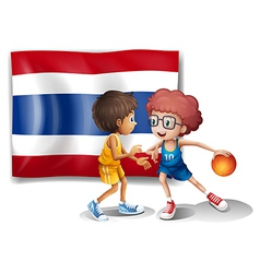 Two boys playing basketball in front of the vector image