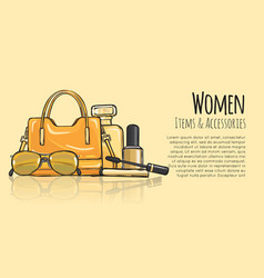 Women items and accessories yellow female objects vector