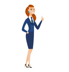Stewardess giving thumb up vector