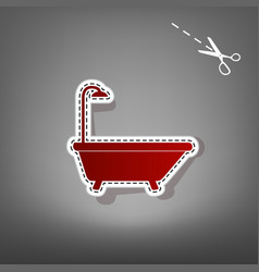bathtub sign  red icon with for applique vector image