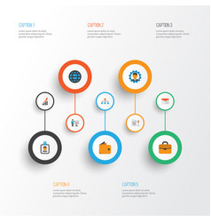Trade flat icons set collection of increasing vector