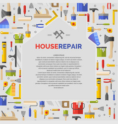 White poster with home and tools for house repair vector