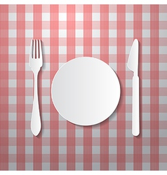 Fork plate and knife made from paper on tablecloth vector