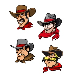 Cartoon cowboys set vector