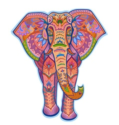 Ethnic ornamented color elephant vector
