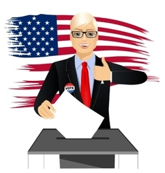 Blonde businessman putting ballot in vote box vector