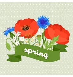 Floral background with pretty spring flowers vector