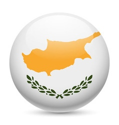 Round glossy icon of cyprus vector