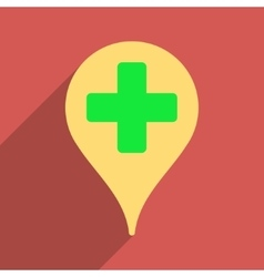 Medical map marker flat longshadow square icon vector