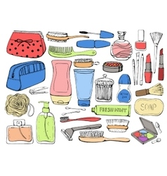 Cosmetics and shower accessories for skin vector