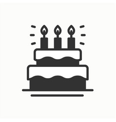 Birthday cake pie with candles icon happy vector