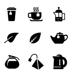 black tea icons set on white background vector image vector image