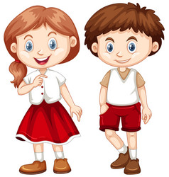 Boy and girl in red and white costume vector