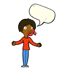 Cartoon woman telling lies with speech bubble vector