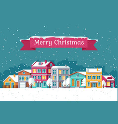 christmas holiday greeting card with winter vector image vector image