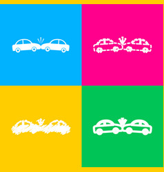 Crashed cars sign four styles of icon on four vector