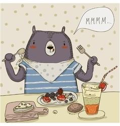 cute cartoon bear with food vector image