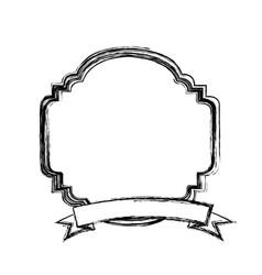 Figure emblem border ornamental with ribbon vector