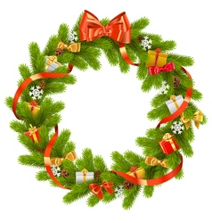 Fir wreath with gifts vector