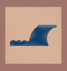 Flat shading style icon disaster tsunami vector