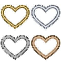 Four hearts love frames isolated on white vector image vector image