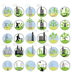 icons industry and ecology vector image