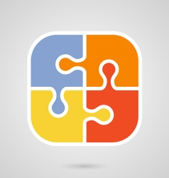 Jigsaw puzzle icon - teamwork symbol vector image vector image