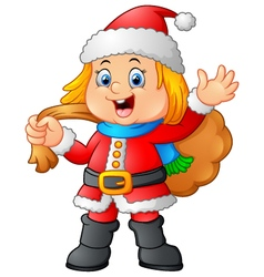 little girl wearing santa clothes vector image vector image