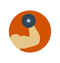 Mans hand with muscles and dumbbell vector image