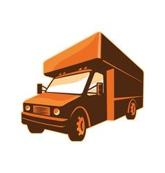 Moving truck delivery van retro vector