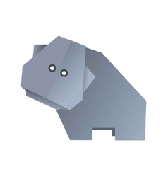 Origami hippo animal isolated on white vector