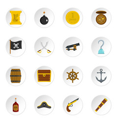 Pirate icons set in flat style vector