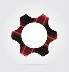 Red black tartan isolated icon - cogwheel vector
